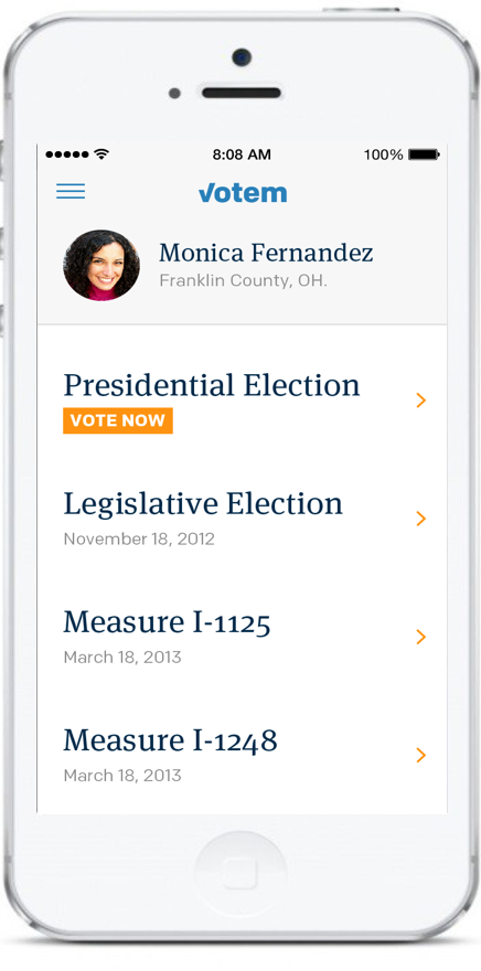 Example of a Votem election on a phone screen