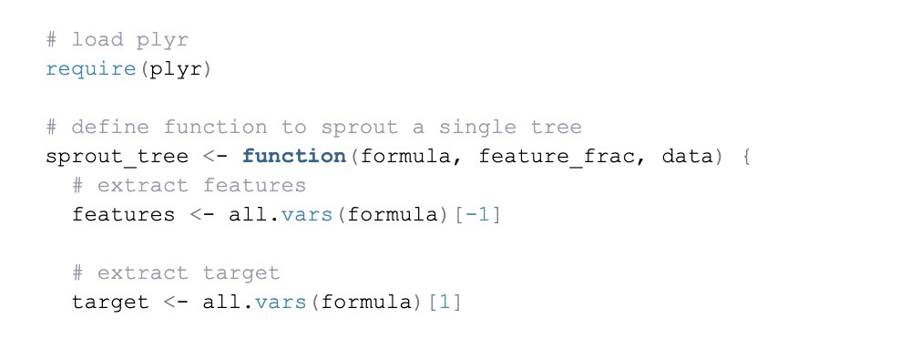 An example of lines of code