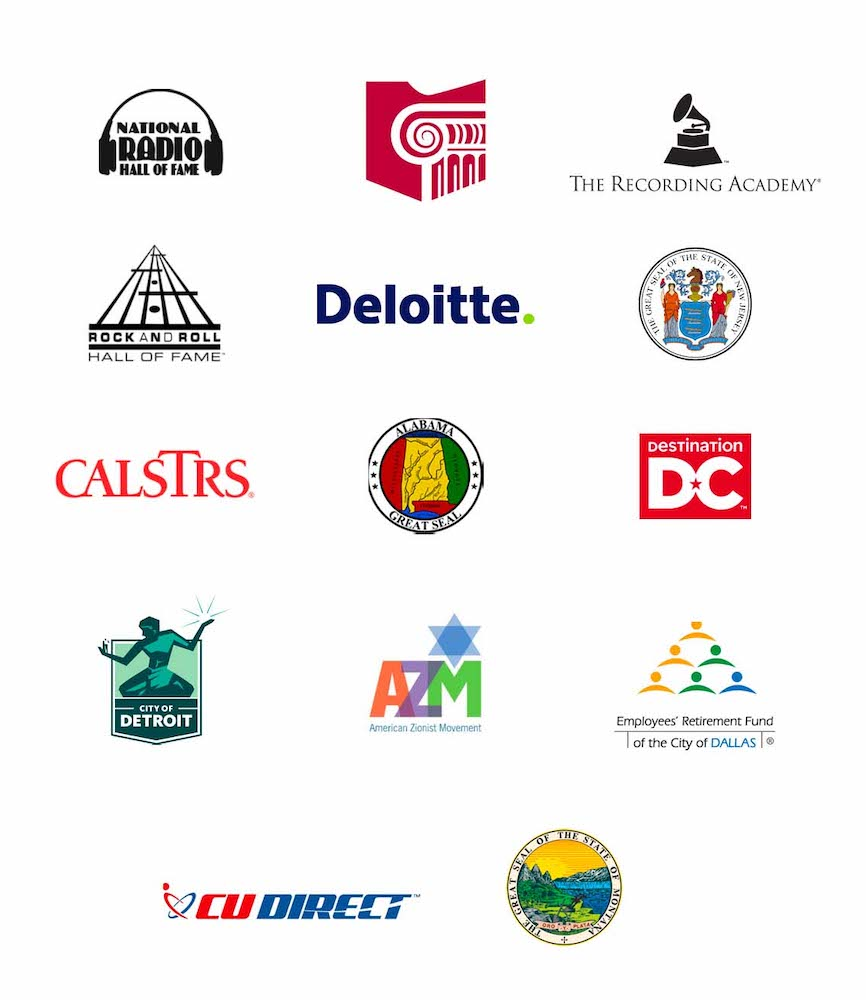 Some of Votem's online voting elections customers and their logos, such as The Recording Academy, State of New Jersey, and Deloitte.