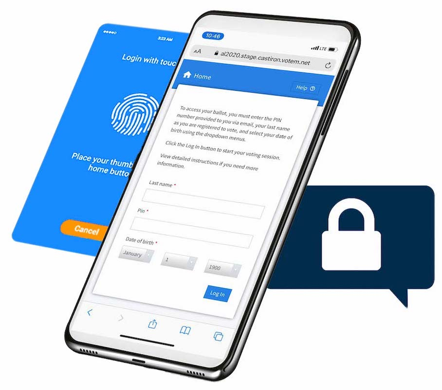 Voter ballot login screen on a phone next to a touch ID screen and secure lock icon