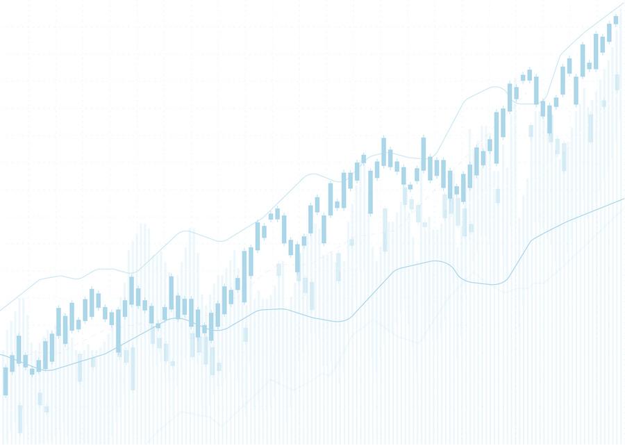 Increasing trend light blue graph