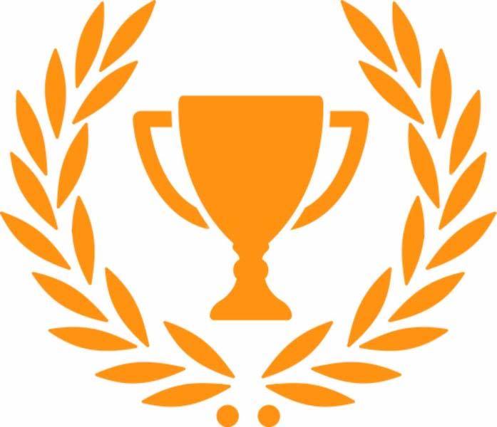 Orange trophy and laurel wreath icon